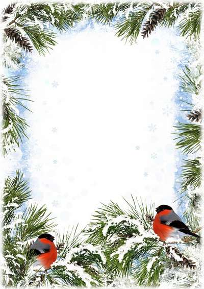 winter frame psd template bullfinch in winter forest free download