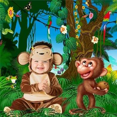 Free children psd pattern for Photoshop kids - monkeys - Free download
