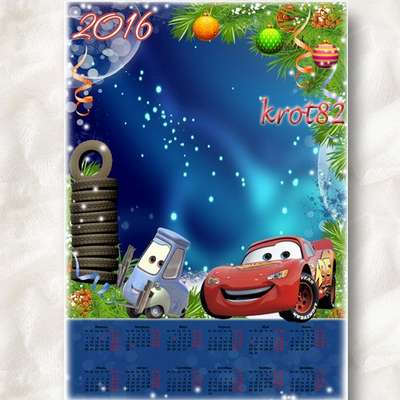 Children's New Year Calendar psd template 2016 - Mysterious cars