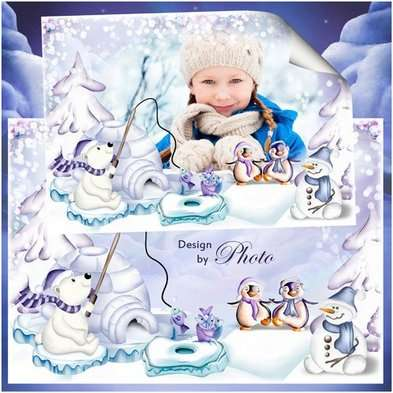 Free winter childrens psd frame template for decoration kids photos with white snowman bear, penguins