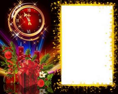 Free Christmas template frame psd for photo girls with Christmas clock and candle