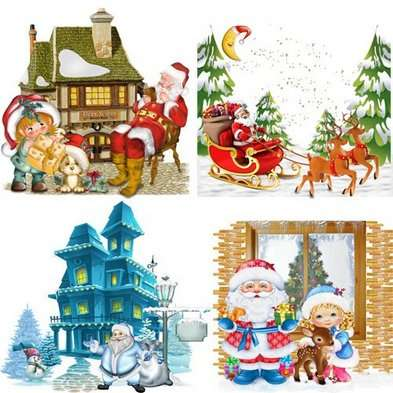 Free Christmas clusters Santa Claus png images - Santa Claus on sledge, Santa with bag, Santa with children png
