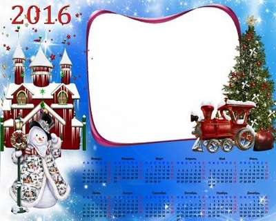 Children's Calendar - frame psd 2016 – Train with gifts