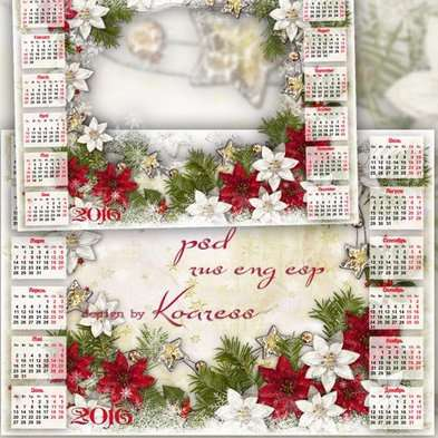 Free 2016 Christmas Family calendar-frame psd template in the new year decoration