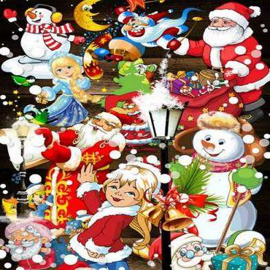 Free 75 png images: Santa Claus png, Snow Maiden png ,snowman png with Christmas gifts, toys and monkey