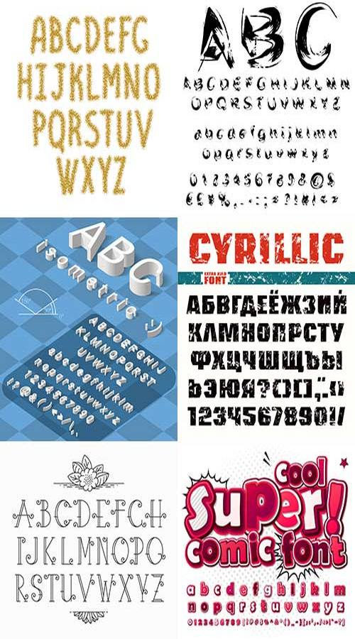 Collection Vector Alphabets 25 EPS - Free download