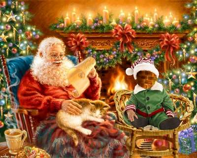 Childrens psd template for photoshop with Santa