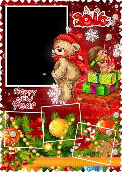 Free Christmas psd frame 2016 - with Christmas gifts, a painted bear and hedgehog