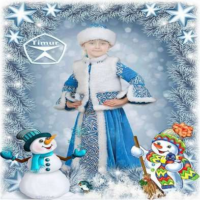 Childrens psd template for photoshop  girl in psd costume snow maiden