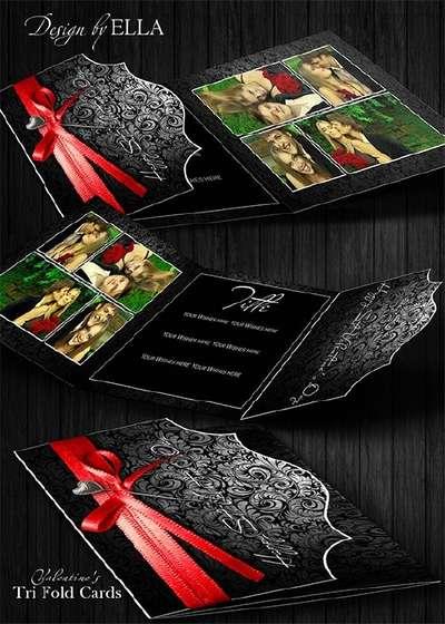 Valentine's Tri Fold Card PSD by ELLA