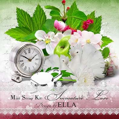 Romantic mini scrap kit PNG and layered calendar PSD - Immature love