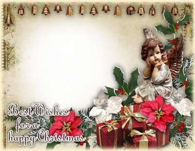 Free Christmas greeting PNG photo framework + psd photo frame - Best Wishes for a happy Christmas