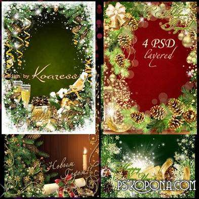 Free Set New Year greeting psd photo frame for Photoshop with champagne, bells and candles - Free download