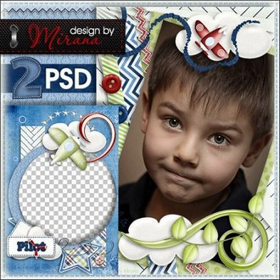 2 psd template children photo frames for boy  My little pilot - Free download