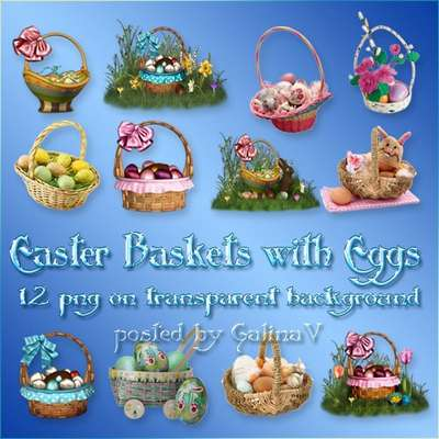 Festive Clipart PNG - Baskets with Easter Eggs