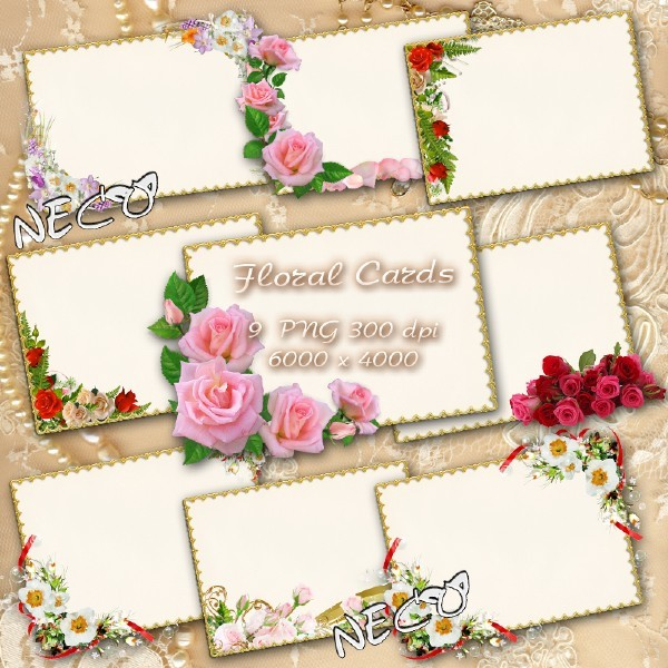 Clipart floral cards in gold within PNG