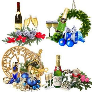 Free Christmas png clusters, bottle of champagne with glasses, flowers and gifts png images - Free download