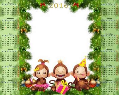 Free 2016 Calendar-frame psd with three monkeys the Russian text only - Free download