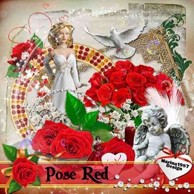 Romantic scrap kit - Rose Red 50 png images - Free download