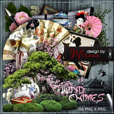 Scrap kit Wind Chimes 66 PNG + 9 JPG