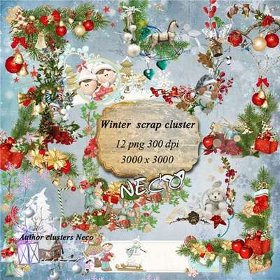 Winter scrap cluster 12 Png images