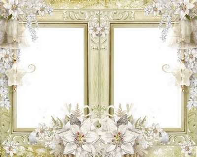 Free Wedding Frame Psd With White Flowers