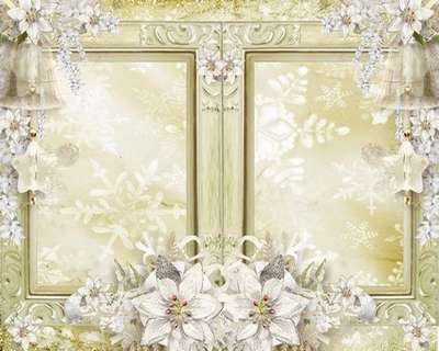 Free wedding frame psd with white flowers - Free download