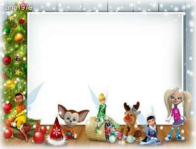 Free Christmas psd frame for baby photos with Christmas tree and toys - Free download