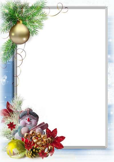 Children's Christmas frame psd with snowman and Christmas trees - Free download