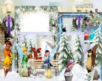 Free Set children's png frames -  5 png winter photo frames