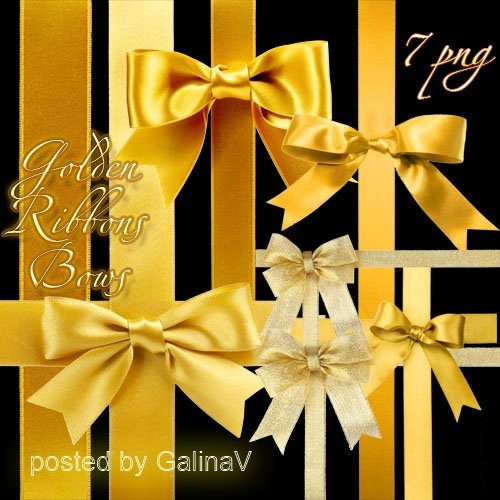 Golden Ribbons png and Bows png - free 7 png images free download
