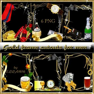Golden frame 6 PNG - cutouts for men