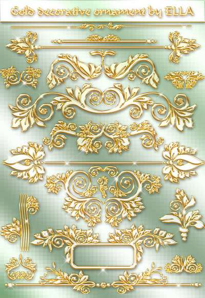 Gold decorative ornaments on a transparent background