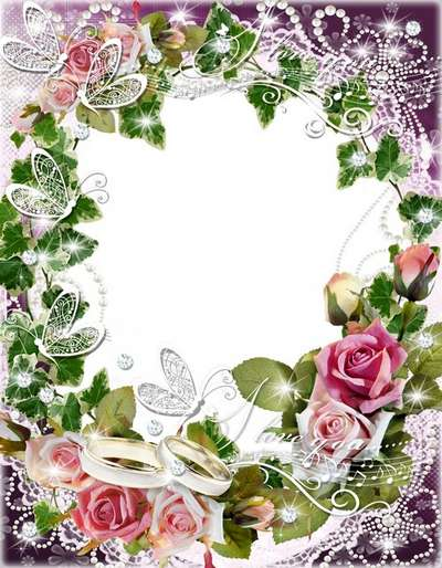 Frame for decorating wedding photos-Waltz of white butterflies