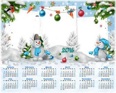 Free 2016 Children's New year calendars png with cutouts for photos - 6 png (English, Russian)