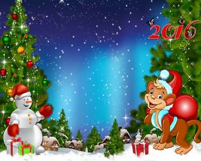 Free layer PSD source with New Year monkey, snowman, Christmas trees and Christmas decorations