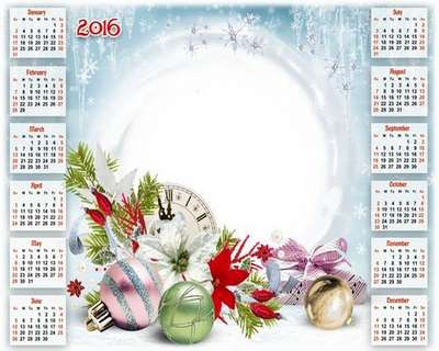 Christmas PSD Calendar for 2016 with frame for photos