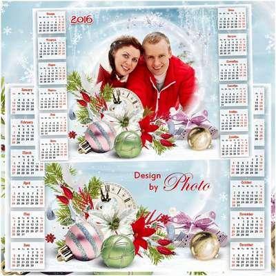 Christmas PSD Calendar for 2016 with frame for photos