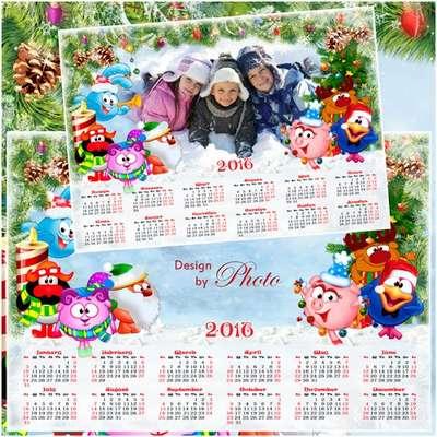 Christmas calendar psd for 2016 with the ability insert photos - English, Spanish, Russian (optional)