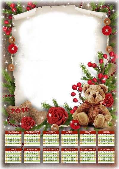 Free Calendar psd for 2016 with the ability insert photos in romantic style with roses and Teddy bear and hearts