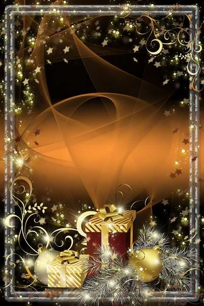 Glamour New Year psd Frame - Golden Reflection