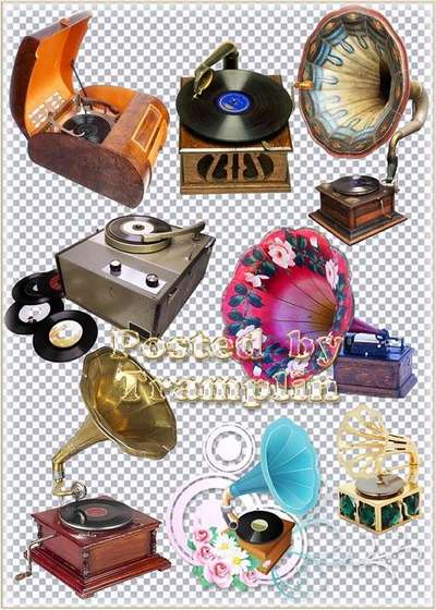 Phonographs, gramophones, record players on a transparent background