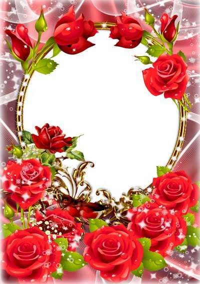 Women's floral frame with roses - Congratulations