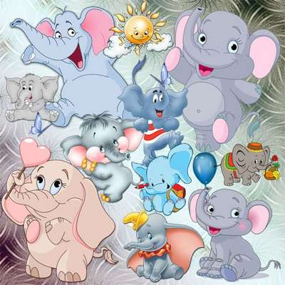 Children's Clipart - Amusing elephant calves, ridiculous, naughty …