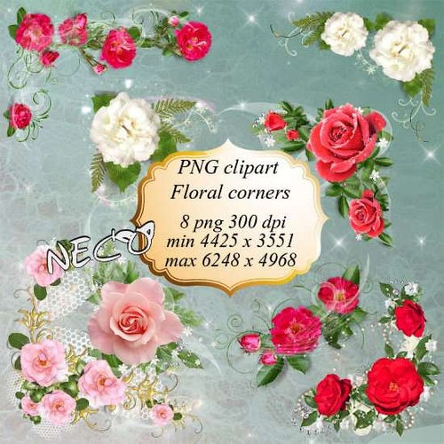 PNG clipart - Floral corners with white, pink and red roses