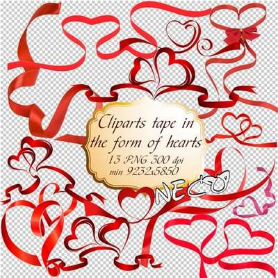 Cliparts tape in the form of hearts PNG