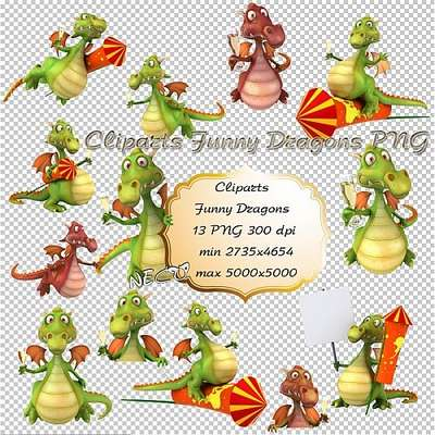 Cliparts Funny Dragons PNG