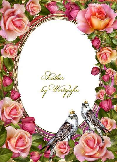 Frame for Photoshop - Royal hawk and roses