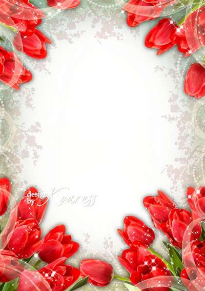 Greeting photoframe with red tulips for Photoshop for March 8 - Womens Day
