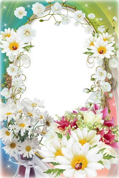 Female flower frame for photo - On the 8th of March